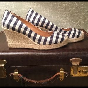 J. Crew Navy/Off-white  checked Wedges